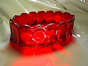 Fostoria Red Coin Glass Oval Bowl  (Image1)