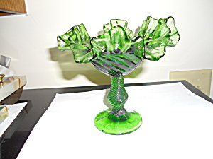 Green Art Glass Pedestal Dish Flared Ruffled