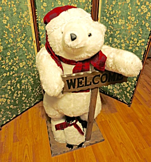 White Polar Bear Welcome Decor Huge 38 In Hand Crafted