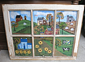 Reverse Glass Painting On Antique Window