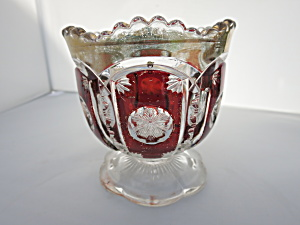 Ruby Red Snow Flake Saw Tooth Sugar Bowl With Gold Trim