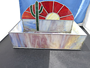 Rare Stained Glass Box Terrarium Sun Cactus Slag Motif