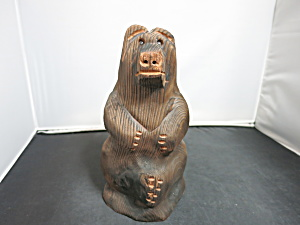 Wooden Carved Bear Figurine 8 inch Tall Unsigned  (Image1)
