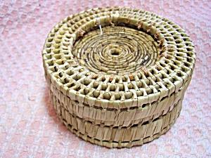 Basket Weave Coaster Set with Sea Shells (Image1)