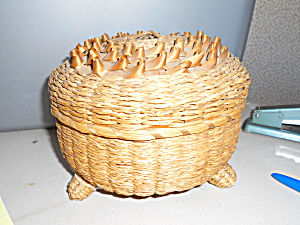 Woven Footed Basket With Cover