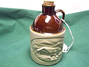 Vermont Jug With Covered Bridge Signed Kress