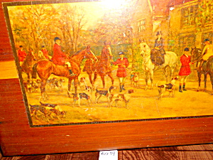 Wood Box dovetail with English Hunting Scene (Image1)