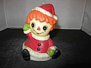Vintage Raggedy Ann Christmas Candle Vintage 1970s