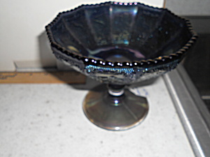 Imperial Purple Carnival Glass Compote Zodiac
