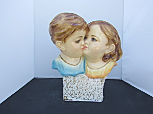 Chalkware Bust Statue Boy Girl Kissing Home Decor 1976
