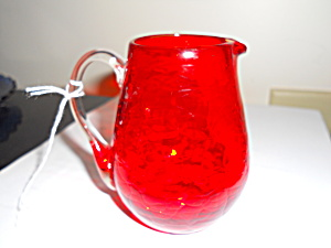 Red Crackle Glass Pitcher