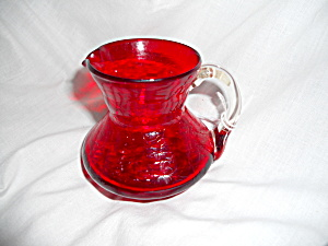 Blown Ruby Red Crackle Glass Pitcher Creamer