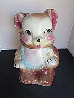 American Bisque Bear With Cookie Cookie Jar Made In Usa