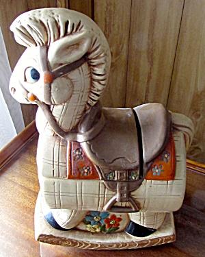 Twin Winton Rocking Horse Cookie Jar Rose California (Image1)