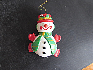 Snowman Plastic Christmas Ornament 4 Inch