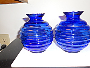 Cobalt Blue Glass Vases Pair Bee Hive USA (Image1)