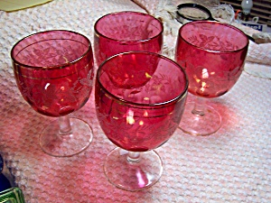 Cranberry Glass Thumbprint Goblets Grapevine  (Image1)