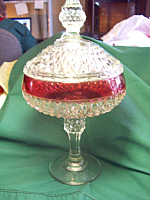 Indiana Glass Diamond Point Compote Candy  (Image1)