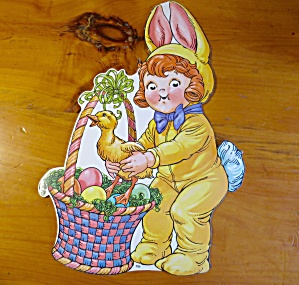 Campbell Soup Kids Easter Cardboard Sign Litho Die Cut