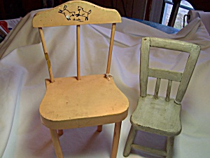 Vintage Pair hand made Doll Chairs  (Image1)