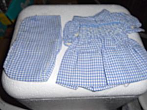Doll Dress Panties Blue White Check Smocking  (Image1)