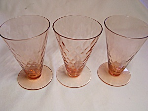 Pink Depression Footed Glass Optic Pattern