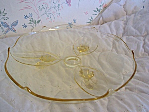 Lancaster Yellow Depression Glass Cake Plate