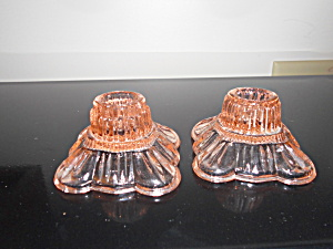 Pink Depression Glass Candle Holders Pair
