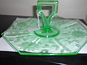 Green Etched Elegant Glass Handle Plate Dish