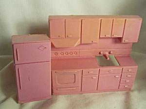Dollhouse Kitchen Set Cupboards Stove Fridge (Image1)