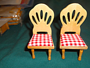 Dollhouse Kitchen Chairs Wood Set Of Two