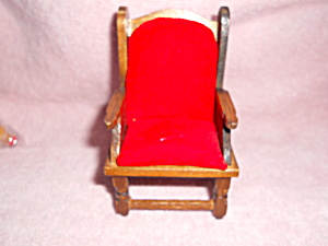 Dollhouse Arm Chair With Red Cushions