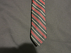 Rooster Ruffler Neck Tie Striped Black Red Tan (Image1)
