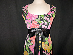 Floral Flared Ruffled Maxi Dress Hand Tailored 1960s (Image1)