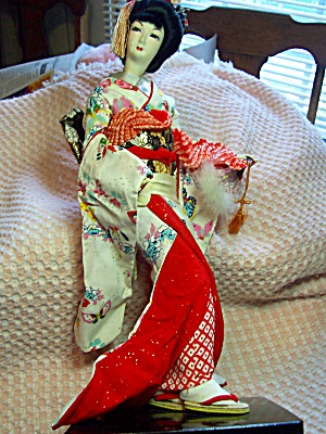 Geisha Girl Doll on Stand 17 inches 1960s (Image1)