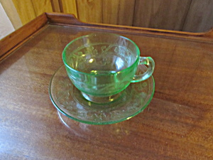 Hazel Atlas Shamrock Cloverleaf Cup And Saucer Green