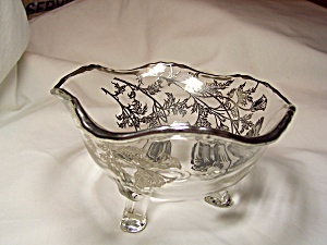 Flanders Poppy Silver Overlay Glass Footed Bo