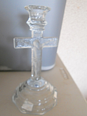 Crystal Glass Jesus Cross Candle Holder