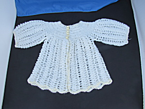 Hand Crochet Baby Sweater Pearl White Yellow Trim