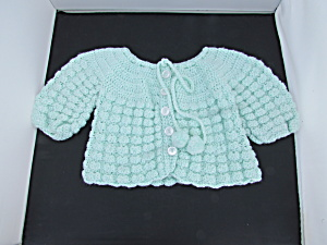 Hand Made Crochet Baby Sweater Green W Pearl White 0-6