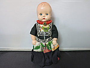 Vintage Hard Plastic Doll In Native Dress Sleep Eyes