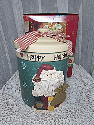 Santa Christmas Cookie Jar Stoneware Mint In Box