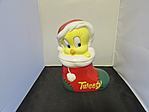 Tweety Bird Santa Hat Christmas Cookie Jar Warner Bros