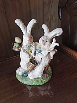 Easter Rabbit Bunny Figurine Ma Pa And Baby Baskets Egg