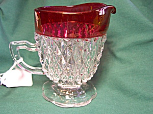 Indiana Diamond Flash Glass Footed Creamer