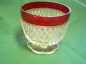 Indiana Diamond Flash Glass Footed Bowl