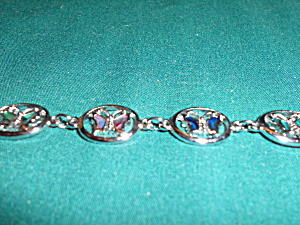 Vintage Silver Tone Butterfly Linked Bracelet (Image1)