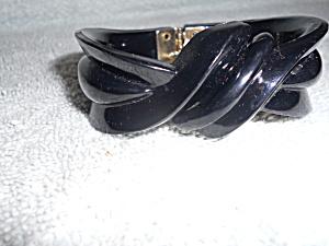 Black Carved Plastic Lucite Hinged Bracelet (Image1)