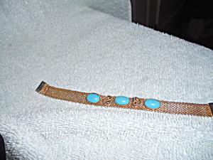 Gold Mesh Bracelet Turquoise Stones (Image1)