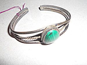 Malachite Sterling Silver Cuff Bracelet Green Gemstone (Image1)